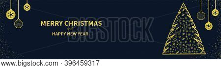 Christmas Golden Balls And Abstract Christmas Tree Made Of Snowflakes On A Dark Blue Background. Hor