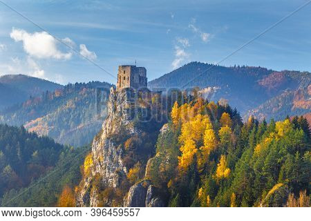 Medieval Castle Strecno In The Autumn Mountain Landscape, Slovakia, Europe.