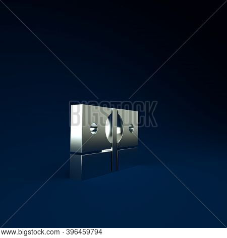 Silver Stacks Paper Money Cash Icon Isolated On Blue Background. Money Banknotes Stacks. Bill Curren