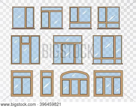 Window Set Of Different Types. Collection Classic Architecture Elements.closed Vector Window Element