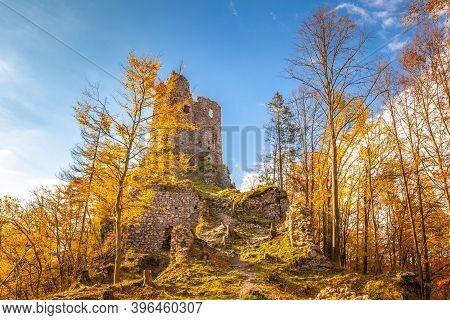 Medieval Castle Starhrad In The Autumn Mountain Landscape, Slovakia, Europe.
