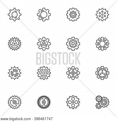 Cogwheels, Gear Line Icons Set, Outline Vector Symbol Collection, Linear Style Pictogram Pack. Signs