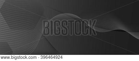 Black Digital Background. Flow 3d Motion. Vector Dynamic Lines. Business Digital Background. Wavy Te
