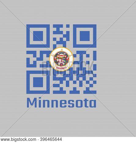 Qr Code Set The Color Of Minnesota Flag, State Seal On A Medium Blue Field. Text: Minnesota.