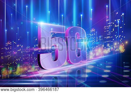 Abstract 5G conceptual information technologies background illustration,  3D illustration