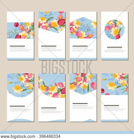 Set With Different Floral Templates. Cards For Your Design