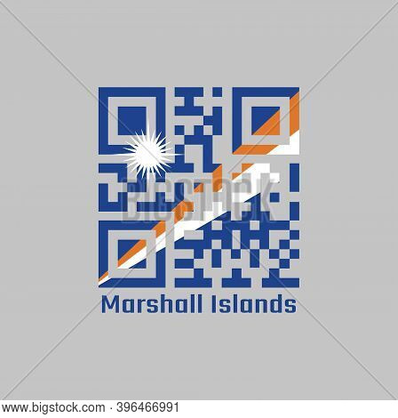 Qr Code Set The Color Of Marshall Flag. A Blue Field With Two Diagonal Stripes Of Orange And White A