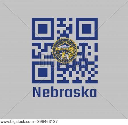 Qr Code Set The Color Of Nebraska Flag, Seal Of Nebraska In Gold On An Azure Field. Text: Nebraska.