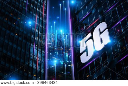 Information technologies background illustration with city skyscrapers and 5G logo. Mixed technique, 3D illustration.