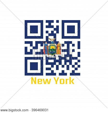 Qr Code Set The Color Of New York Flag, Coat Of Arms Of The State Of New York On Blue Field. Text: N