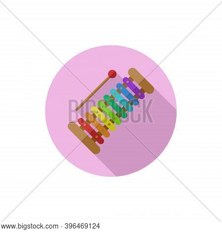 Flat Design Xylophone. Vector Illustration Simple Icon