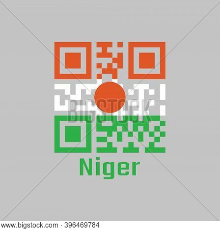 Qr Code Set The Color Of Niger Flag. Orange White And Green; Charged With An Orange Circle In The Ce