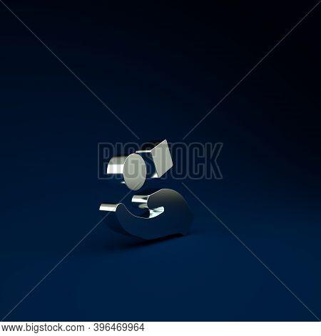 Silver Cube Levitating Above Hand Icon Isolated On Blue Background. Levitation Symbol. Minimalism Co