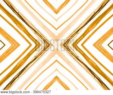 Seamless Geometric Pattern. Abstract Zig Zag Background. Orange Aztec Diamonds. Geometric Ethnic Pat