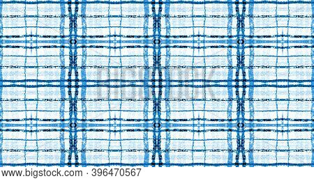 Plaid Fabric Pattern. Blue Christmas Picnic Texture. Seamless British Tweed. Hipster Gingham Textile
