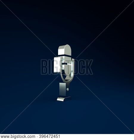 Silver Microphone Icon Isolated On Blue Background. On Air Radio Mic Microphone. Speaker Sign. Minim