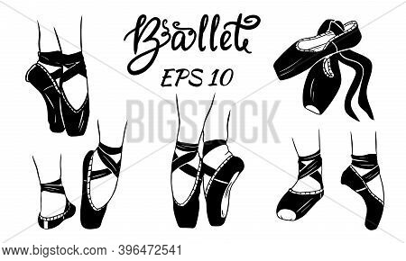 A Set Of Ballet Shoes. Womens Legs In Ballet Shoes.