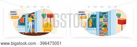 Woman Is Choosing Dress From Her Messy Closet. Mess At Home Concept Vector Illustration. Room Interi