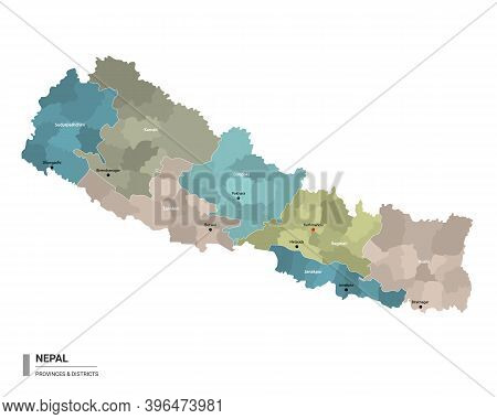 Nepal Higt Detailed Map With Subdivisions. Administrative Map Of Nepal With Districts And Cities Nam