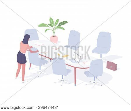 Woman Prepares Office For Business Meeting Isometric Illustration. Female Secretary Character Arrang