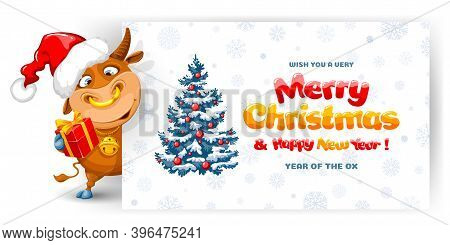 Cute Cheerful Cartoon Ox, With Festive Christmas Decorations, Symbol New 2021 Year By Eastern Calend