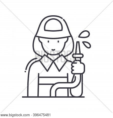 Fireman Icon, Linear Isolated Illustration, Thin Line Vector, Web Design Sign, Outline Concept Symbo