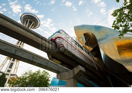 Seattle, Washington State, United States - July 08, 2012: Monorail And Emp Museum Designed By Frank