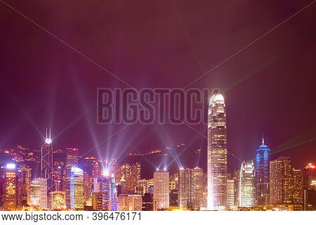 Hong Kong Island, Hong Kong, China, Asia - December 06, 2008: Symphony Of Lights And Music Show Over