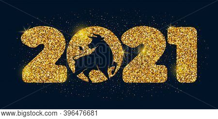 Large Numbers 2021 With Golden Glitters And Silhouette Of The Ox, Symbol And Mascot Of The New Year