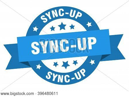 Sync-up Round Ribbon Isolated Label. Sync-up Sign