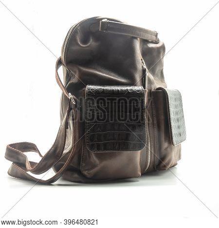 Women's Brown Bag-backpack Made Of Genuine Leather. Metal Zip Fastening, Long And Short Handles. Rep