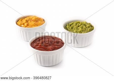 Traditional Mexican Sauces. Guacamole, Chilli Pepper Sauce And Cheese Sauce Isolated On White Backgr