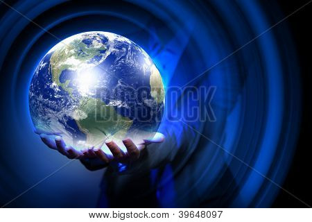 Blue global technology background with the planet Earth. Elements of this image furnished by NASA.