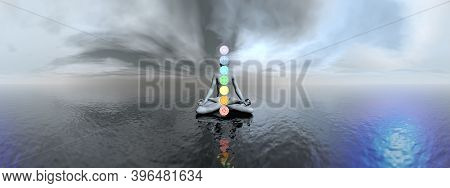 Man Meditating And Chakra Colors In A Panoramic Landscape With Water - 3d Render