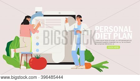 Online Dietitian Consultation. Concept Of Healthy Eating, Personal Diet Or Nutrition Plan From Dieti