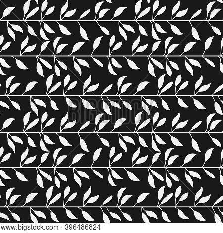 Vector Seamless Pattern With White Horizontal Foliate Lines On Black Background; Abstract Foliate Br