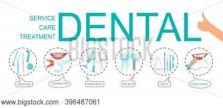 Dental Word Vector Infographic Illustration With Icons For Orthodontic Treatment And Care,stomatolog