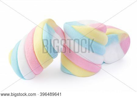 Marshmallow Candy Isolated On White Background. Close-up Of Rainbow Coloured Marshmallows Chewy Trea