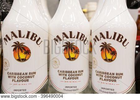 Tyumen, Russia-november 22, 2020: Malibu Rum On The Shelves Of The Hypermarket. Selective Focus. Pro