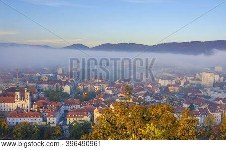 Cityscape Of Graz With Mariahilfer Church And Historic Buildings, In Graz, Styria Region, Austria, I