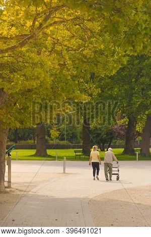 Klagenfurt, Austria- August 26, 2020: Old People Walking And Relaxing On The Lake Worthersee Promena