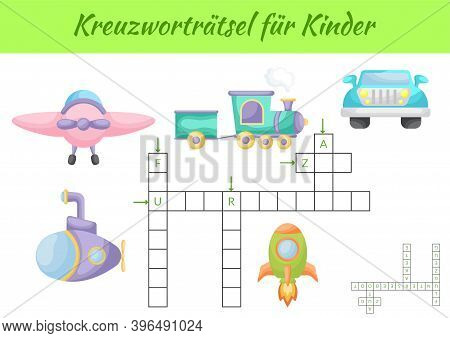 Kreuzworträtsel Für Kinder - Crossword For Kids. Crossword Game With Pictures. Kids Game And Activit