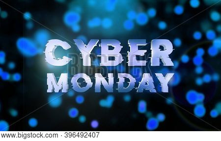 Cyber Monday Sale Blue Banner. Cyber Offer Online Sale Event. 3d Rendering. Glitter Sparkles And Tex