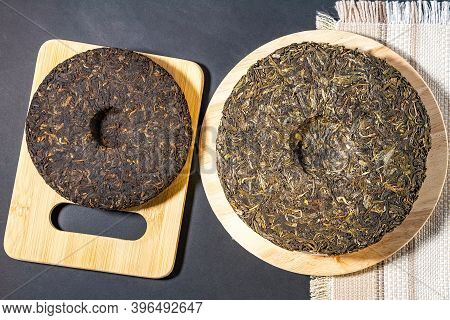 Chinese Puer Tea Pressed. Tea Shop Or Tea Ceremony Concept. Health Drink Concept. The Chinese Dry Th