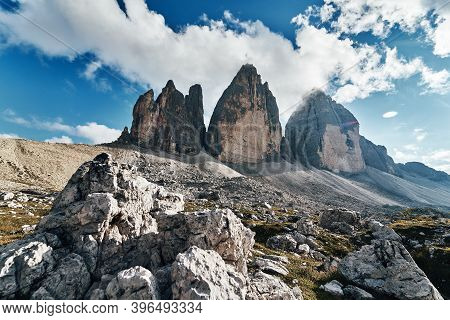 View Of Drei Zinnen Or Tre Cime Di Lavaredo With Beautiful Cloud On Sky, Sextener Dolomiten Or Dolom