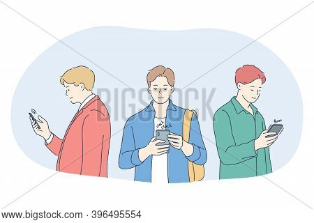 Smartphone, Online Communication, Chatting Concept. Young Men Standing With Smartphones, Chatting, S