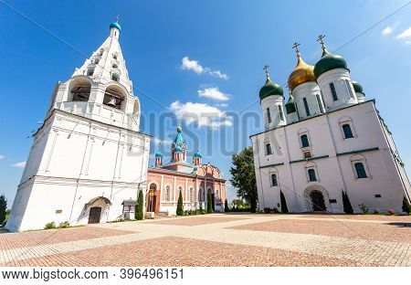 Cathedral Square With Shatrovaya Bell Tower, Assumption Cathedral, Tikhvin Church In Kolomna Kremlin