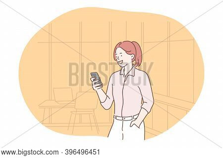Smartphone, Online Communication, Chatting Concept. Young Girl Standing With Smartphone In Hands, Ch