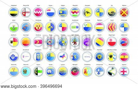 Set Of Vector Icons. Municipalities Of Netherlands Flags (gelderland Province).