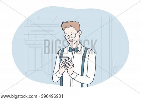 Smartphone, Online Communication, Chatting Concept. Young Men Office Worker Standing With Smartphone